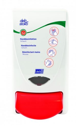 Deb Skin Care handdesinfectie dispenser wit rood