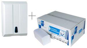 Handdoekdispenser Z-vouw Hoogglans wit+doos Eco papier 44321
