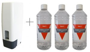 Zeepdispenser wit incl. 3 x 1 liter handalcohol