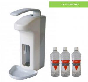 Zeep&desinfectie dispenser 1000ml incl. 3x1L Handalcohol 70%