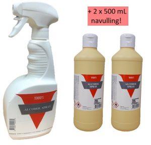 Tendo Alcoholspray 70% voor oppervlakte 750ml + 2x500 mL