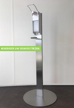 Desinfectiezuil RVS incl. dispenser en 3x 1L Handalcohol 70%