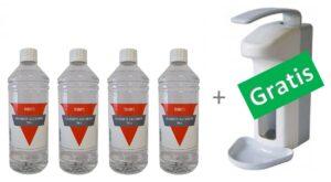 4x1 liter handalcohol 70% +gratis elleboogdispener kunststof