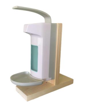 Zeep&desinfectie elleboogdispenser tafelmodel 1L kunststof actiemodel desinfectiestaander